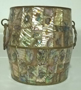 Mother of pearl/abalone inlaid Taxco Mexico ice bucket