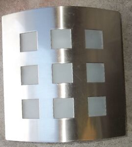 "RETRO WALL LIGHT , 11"" X 11""  FACE , STAINLESS STEEL & GLASS"