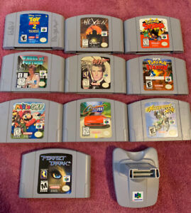10 N64 GAMES AND TRANSFER PAK