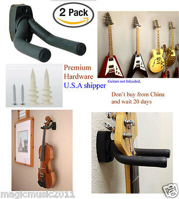 - 2-PACK Guitar Hanger Hook Holder Wall Mount Display Acoustic Electric. GRJ-Q2