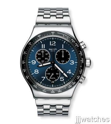 New Swatch Irony BOXENGASSE Meshme Steel Dark Blue Chrono Watch YVS457G $190