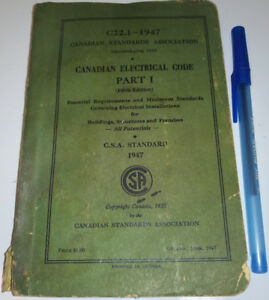 1947 Electrical Code Book CSA Vintage
