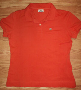 LACOSTE M Women's Polos - Orange & Navy Blue