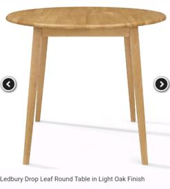 Ledbury solid oak drop leaf table New