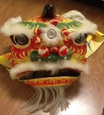 VINTAGE CHINESE DRAGON MASK COSTUME LION DANCE PAPER MACHE BRIGHT COLORS HAIR