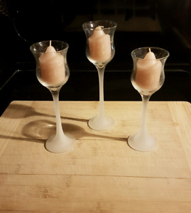 Frosted Glass Candle Votive Holders, Set of 3.