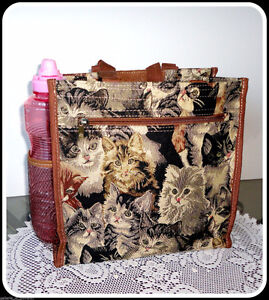 Tote Tapestry Woman's Handbag Bag Cat Kitty