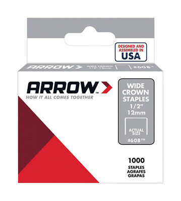 Arrow 608 Wide Crown Swingline Heavy Duty 1/2-Inch Staples, 1000-Count