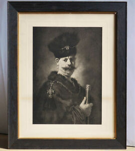 "Vintage Lithographic Print of ""A Polish Nobleman"" by Rambrant"