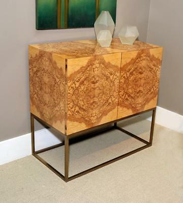 Incredible Rare Olive Ash Burled Wood Milo Baughman Style Modern Server Buffet
