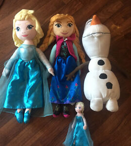 3 Frozen Cuddle Pillows and Small Stuffed Elsa Doll