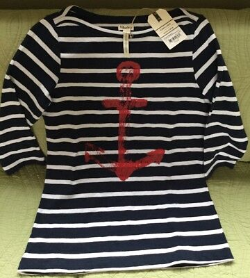 HATLEY NAVY BLUE & WHITE STRIPES ANCHOR SHIRT BOATNECK SIZE M NWT!