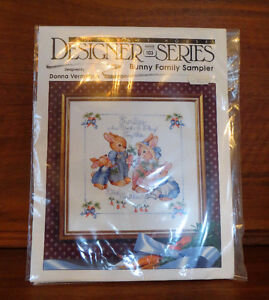 Counted Cross Stitch, Bunny Family Sampler