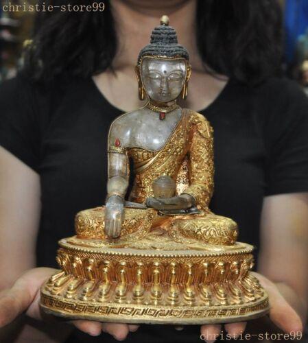Old Buddhism Natural Crystal Filigree Bronze 24K Gold Gem Medicine Buddha Statue