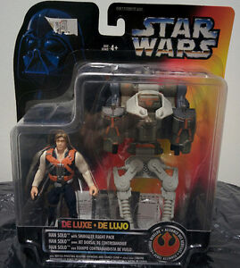 STAR WARS POTF DELUXE HAN SOLO WITH SMUGGLER FLIGHT PACK