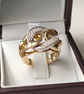 Amazing Christmas Gift 18k Yellow Gold Diamond Ring