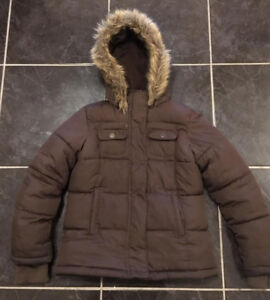 Unisex Brown Winter Jacket (Size 8) for Girls and Boys