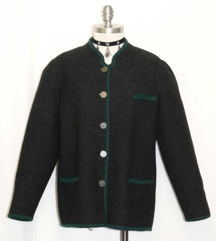 BLACK ~ WOOL German Austria Women Hunting Riding Winter Sweater Coat JACKET 14 L