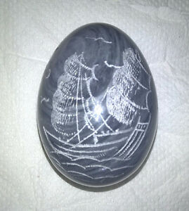Etched Alabaster Polished Marble Egg with Oriental Design
