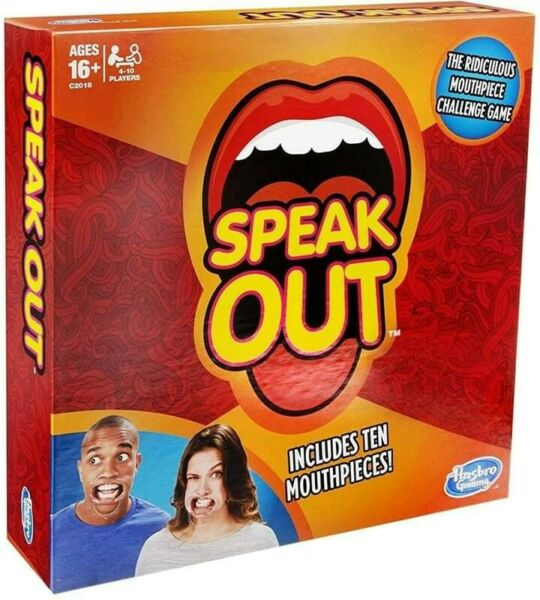 BNIB: Authentic Speak Out Game (with 10 Mouthpieces) by Hasbro Gaming