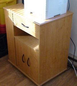 Meuble chariot en bois pour imprimante sur roulette avec tiroir