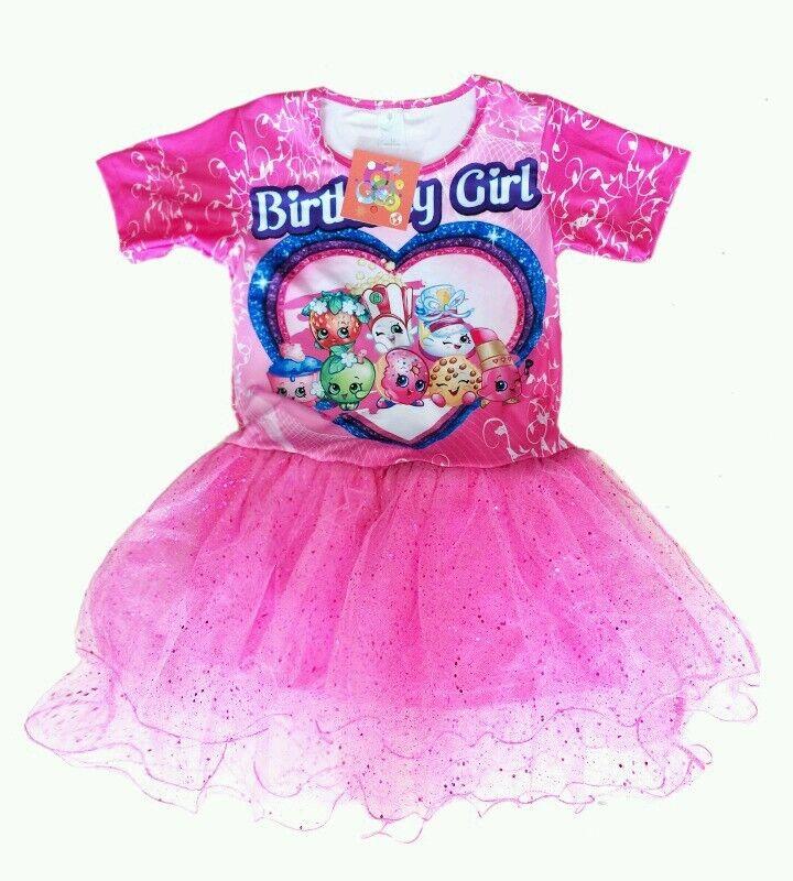 Glittery Sparkly Shopkins Tutu Birthday Girl Print Pink Part