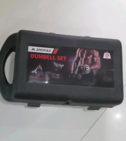 Amonax 20kg Cast Iron Adjustable Dumbbells Weight Set