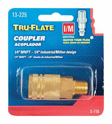 Tru-Flate  Brass  Quick Change Coupler  1/4 in. Male  1 pc. - Quick-change Coupler