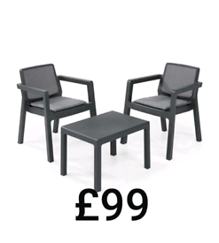Plastic bristo set 2x armchairs with coffee ☕ table