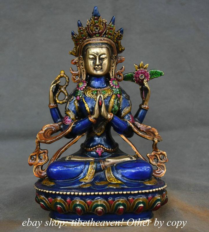 "8.4"" Tibet Bronze Painting Temple 4 Arms Chenrezig Buddha Avalokiteshvara Statue"