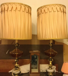VINTAGE LAMPS-Marble and Brass Base