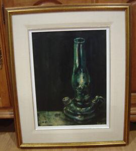 Genuine Oil Painting Of Vintage Oil Lamp
