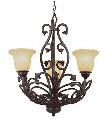 Antique Bronze 3 Light Chandelier With Champagne Ribbed Frosted Glass