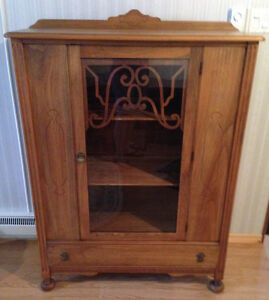 Antique Walnut Display China Cabinet Bookcase