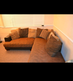 corner sofa (Leather and fabric)