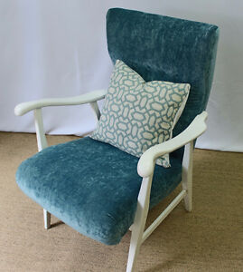 Newly updated vintage chair in turquoise