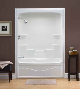 Two white 3 Pc.  5 foot Fiberglass Tub and Shower