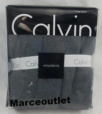 Calvin Klein Home Modern Cotton Body Jersey CAL.KING Fitted Sheet Charcoal Gray