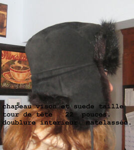 leather mink hat
