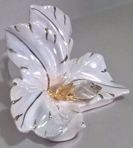 Porcelain White & Gold Orchid Flower Cake Topper