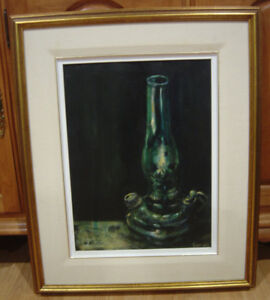 Genuine Oil Painting Of Vintage Oil Lamp