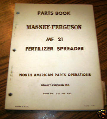 Massey Ferguson MF 21 Fertilizer Spreader Parts Catalog Manual 88A 55 50A 100B