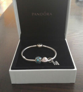 Pandora Sterling Silver Charm Bracelet w/Heart Clasp & 3 Charms
