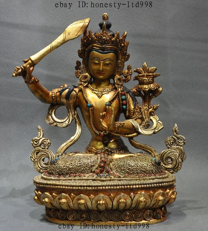 Old Tibetan Buddhism Bronze 24k Gold Gilt Filigree Tara Goddess Kwan-yin Buddha