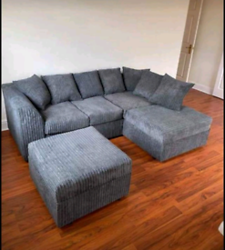 (SOLD) GREY CORD CORNER SOFA LOCAL DELIVERY AVAILABLE TODAY