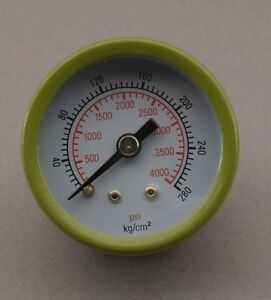 "1 5/8"" HIGH PRESSURE GAUGE 4000 psi. MIG,OXY, REAR 1/8"" MALE NPT"