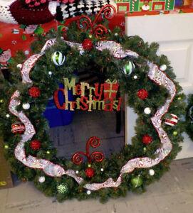 """NEW/Custom Made 36"""" Pre-Lit Indoor/Outdoor Christmas Wreath"""