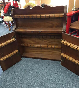 VINTAGE WOOD COLLECTOR SPOON RACK WITH DOORS HOLDS 57 PINE