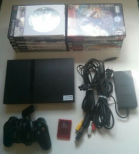 PS2 Slim with 16 Games and Free McBoot Mod