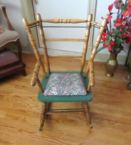 Antique Wood & Metal Child's Rocking Chair - Padded Seat